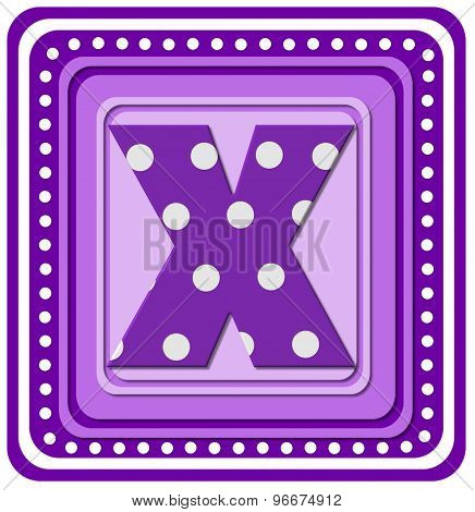 Alphabet Purple Square X
