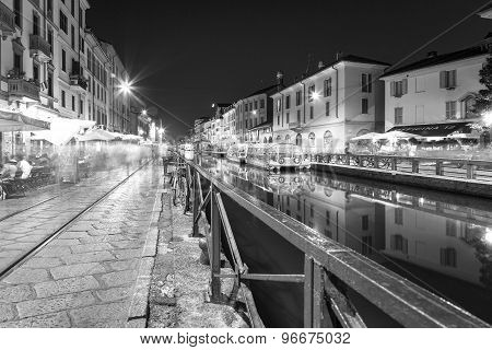 Navigli, Milan city, summer night. Black and white photo