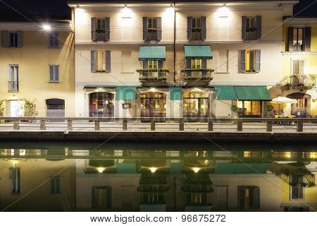Navigli, Milan city, summer night view. Color image