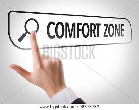 Comfort Zone written in search bar on virtual screen