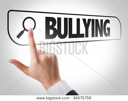 Bullying written in search bar on virtual screen