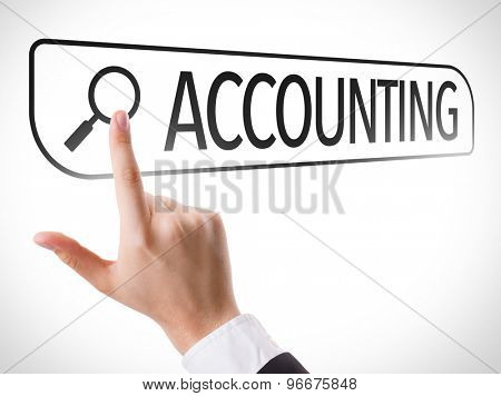 Accounting written in search bar on virtual screen