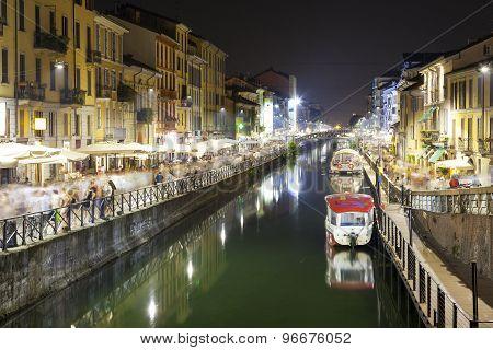 Navigli, Milan city, summer night. Color image