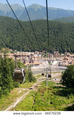 view of Estosadok town and mountains from the ropeway