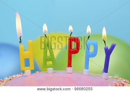 Happy Birthday Candles Closeup