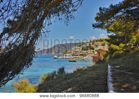 View of Assos village and beautiful sea bay, Kefalonia