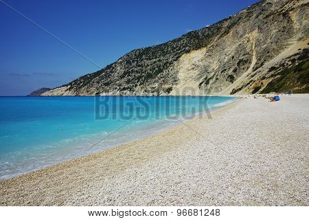 Blue water of beautiful Myrtos beach, Kefalonia,