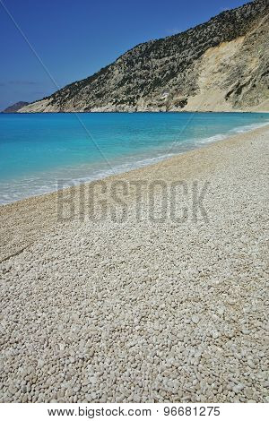 Blue water of beautiful Myrtos beach, Kefalonia