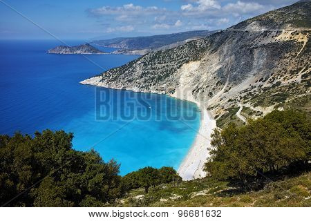 Panoramic View of beautiful Myrtos beach, Kefalonia
