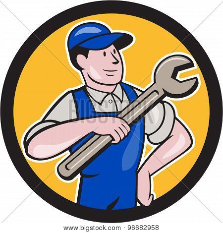 Mechanic Pointing Spanner Wrench Circle Cartoon