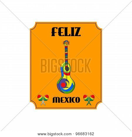 Mexican Musical Instruments Guitar And Maracas. Fiesta Posters