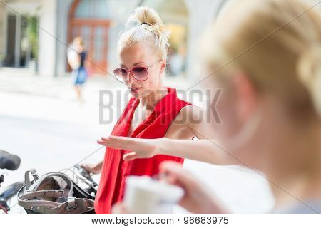 Female friends enjoying a conversation.