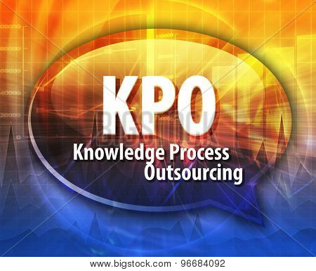 word speech bubble illustration of business acronym term KPO Knowledge Process Outsourcing