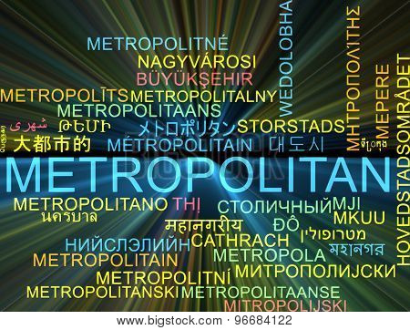Background concept wordcloud multilanguage international many language illustration of metropolitan glowing light