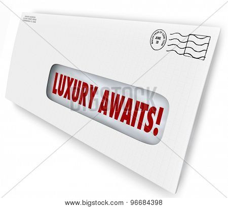 Luxury Awaits words in an envelope for special exclusive letter or invitation to VIP sale, or lush, fancy party or product
