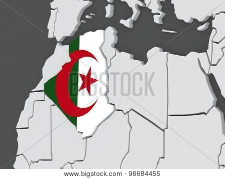 Map of worlds. Algeria. 3d