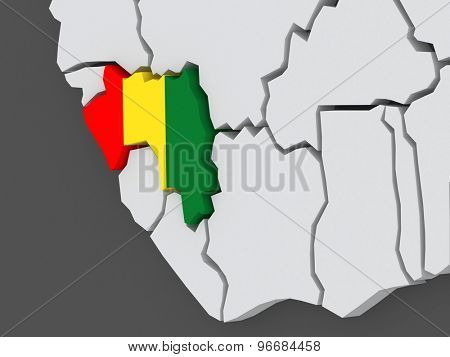 Map of worlds. Guinea. 3d