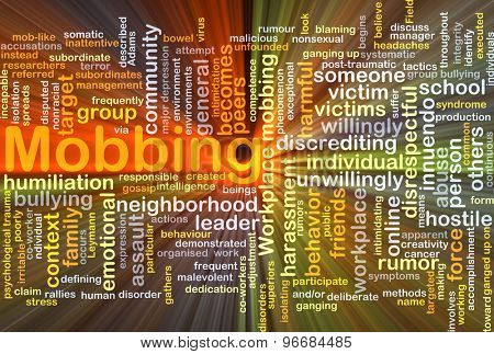 Background concept wordcloud illustration of mobbing glowing light