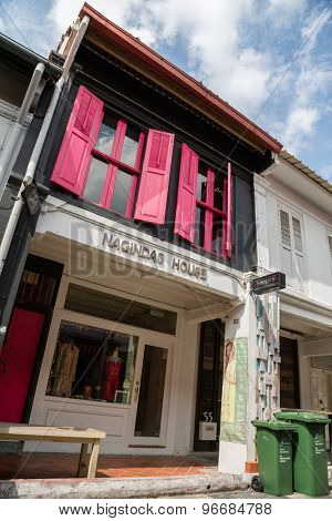 SINGAPORE - CIRCA FEBRUARY, 2015: Old building in Arab quarter (Kampong Glam). Arab Quarter is the oldest historic shopping district of Singapore, is popular for visiting tourists.