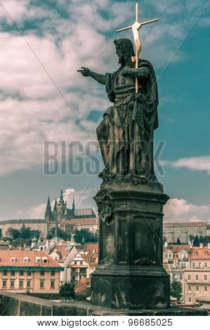 Saint John the Baptist on Charles Bridge in Prague