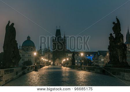 Charles Bridge in Prague, Czech Republic, at night lighting