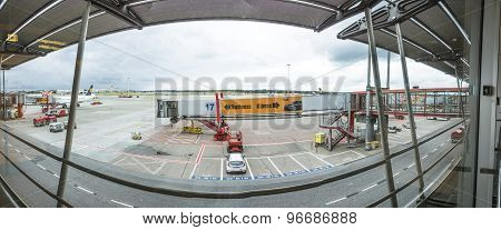 View To Apron At The Gate In Terminal 2 In Hamburg, Germany