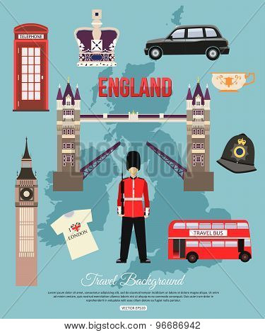 England travel background with place for text. Set of colorful flat icons, England symbols for your