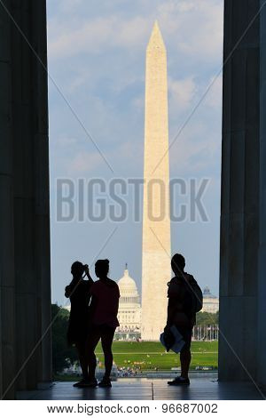 Washington DC - Silhouettes and National Mall as seen from the pillars of Lincoln Memorial