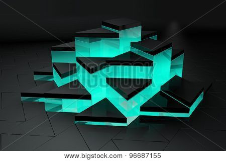 3D render black and green triangle background