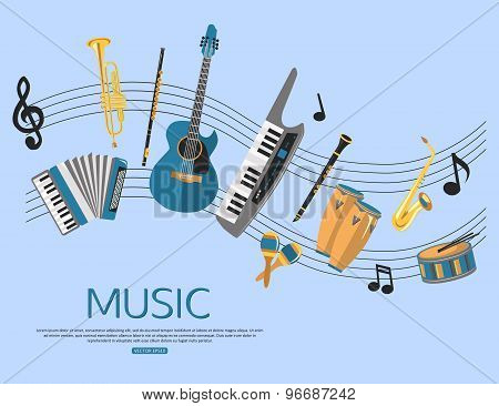 Music background with music instruments. Flat style design.
