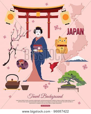 Japan travel background with place for text. Set of colorful flat icons, Japan symbols for your desi
