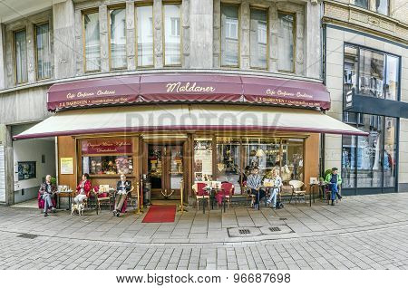People Enjoy Sitting In Famous Cafe Maldaner  In Wiesbaden