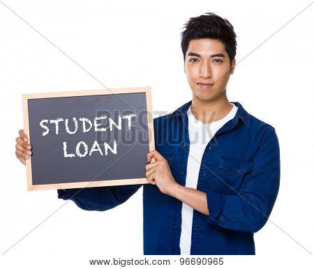 Asian mixed Indian man with blackboard showing a phrases of student loan