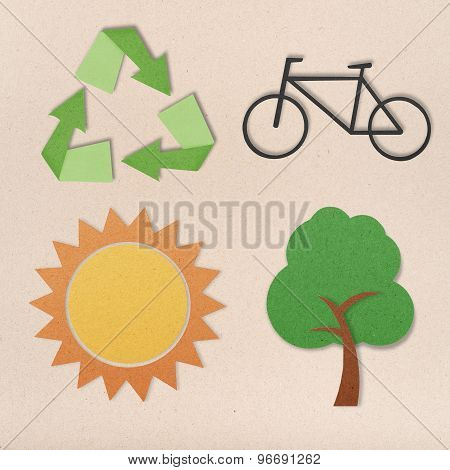 Environmental Conservation Icons In World O Paper Background