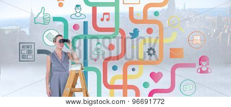 Businessman looking on a ladder against city scene in a room