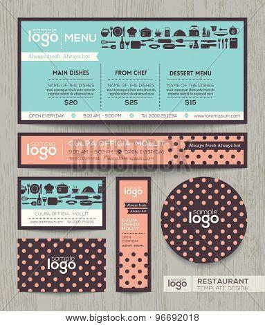 Restaurant Cafe Menu Design Template With Pastel Polka Dot Pattern