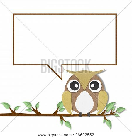 Owl For Text Paper Craft On White Background