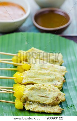 Grilled Pork Satay With Peanut Sauce And Vinegar, Thai Food.