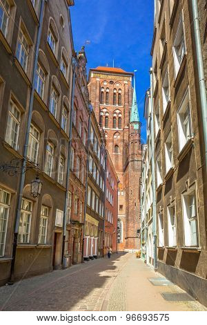 Architecture of the old town in Gdansk with St. Mary Cathedral, Poland