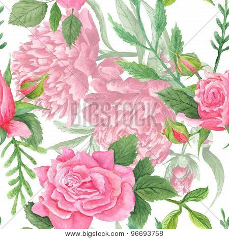 Shabby Chic Watercolor Peony and Rose Pattern