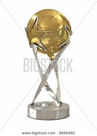 Golden - silver soccer trophy with stars