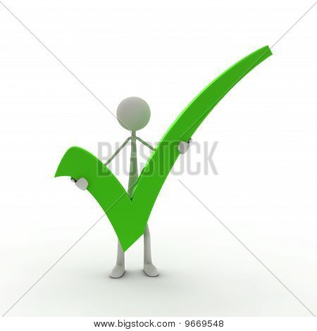 Figure holding check mark