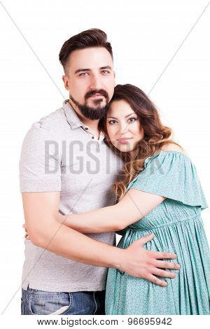 Pregnant Woman With Her Husband Isolated On White Background