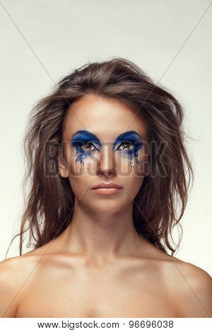 Girl With Fashion Extravagant Blue Make Up