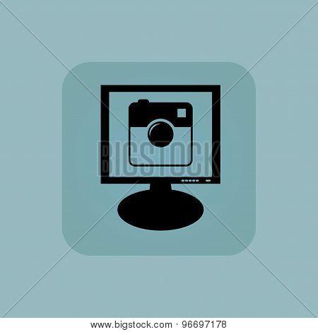 Pale blue square camera monitor