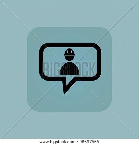 Pale blue builder message icon