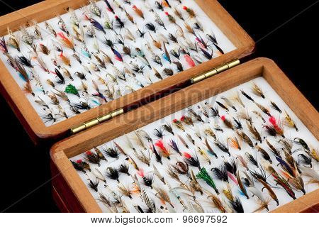 Trout Fishing Flies In Old Wooden Fly Box