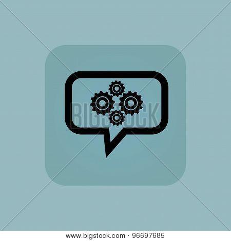 Pale blue cogs message icon