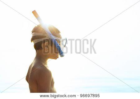 Little Boy Preparing To Go Snorkeling.