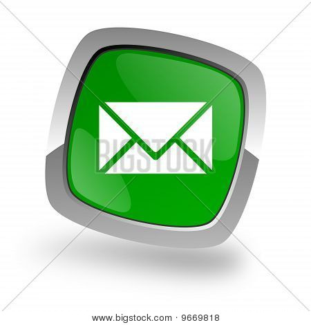 letter icon green button